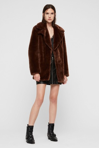 0283249a79c1 Buy AllSaints Toffee Brown Amice Faux Fur Jacket from the Next UK ...