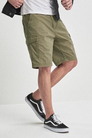 Khaki Cotton Military Cargo Shorts
