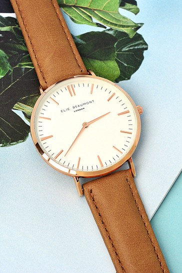 016008c5723 Personalised Women's Modern Vintage Camel Leather Watch by Treat Republic
