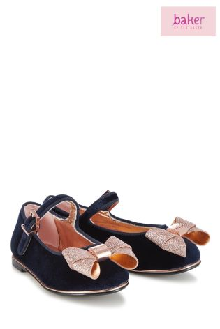4b8a05746 Buy baker by Ted Baker Navy Velvet Bow Party Boot from Next Ireland