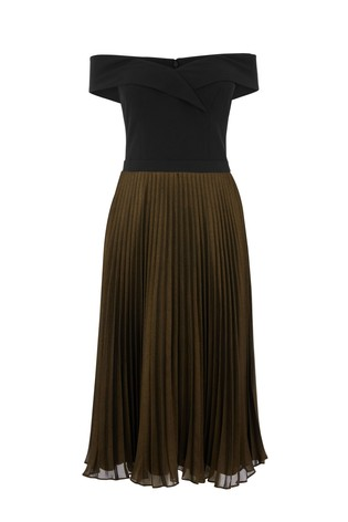 ef39d7b80bf3a Buy Oasis Multi Black Metallic Bardot Pleat Midi Dress from Next Ireland