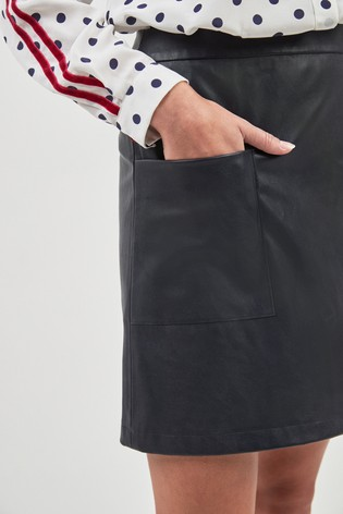 b26605a1d8 Buy BOSS Navy Leather Effect Skirt from the Next UK online shop
