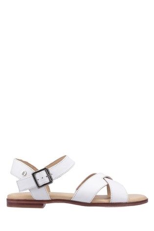 Hush Puppies White Lila Buckle Sandals