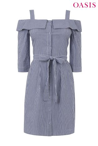 34afb1a16f5c Buy Oasis Blue Stripe Cold Shoulder Shirt Dress from Next Ireland