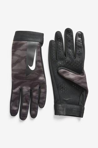 Nike Academy Kids Black Camo Hyperwarm Football Gloves