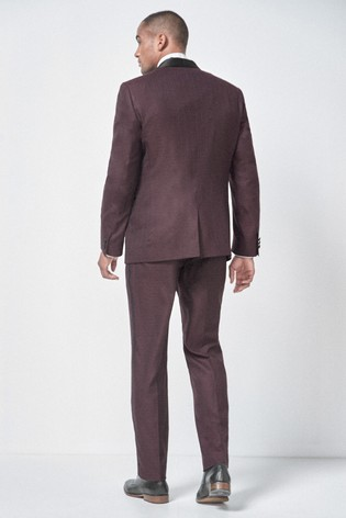 top-rated genuine favorable price enjoy big discount Burgundy Tailored Fit Textured Tuxedo Suit: Jacket