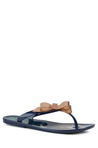 f5d2d9c1c Buy Ted Baker Navy Suzzip Bow Jelly Flip Flops from the Next UK ...