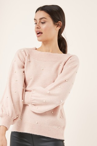 182d0f3e0 Buy Pearl Embellished Bardot Chunky Sweater from Next Ireland