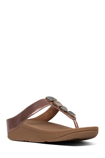 044c43dfbe64 Buy FitFlop™ Pink Asymmetric Stone Fino Toe Post Sandal from the ...