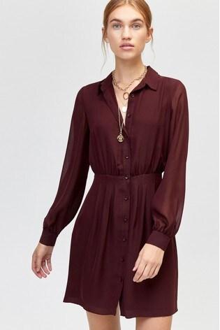 faa1b07535f1 Buy Warehouse Fig Chiffon Pintuck Shirt Dress from Next Ireland