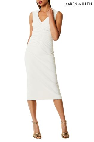 Buy Karen Millen White Controlled Ruched Collection Dress From The