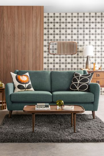Awe Inspiring Orla Kiely Fern Small Sofa With Walnut Feet Theyellowbook Wood Chair Design Ideas Theyellowbookinfo