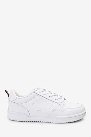 White Leather Lace-Up Trainers (Older