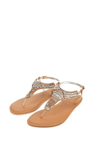 Accessorize Metallic Bethany Beaded Rose Gold Sandals by Next