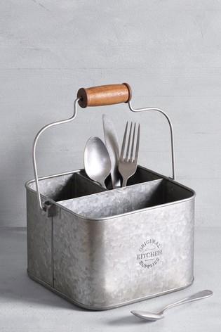 Galvanized Metal Cutlery Caddy