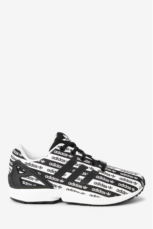 Desnudarse canta Desviarse  Buy adidas Originals Black/White Print ZX Flux Youth Trainers from the Next  UK online shop