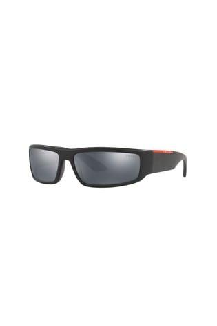 a1c370ec4 ... Čierne slnečné okuliare Prada Sport so zrkadlovými sklami ...