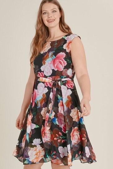cf5609571b Buy Evans Curve Black Floral Print Skater Dress from the Next UK ...