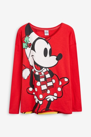 Minnie Mouse Christmas Dress.Red Women S Matching Family Minnie Mouse Christmas Long Sleeve T Shirt