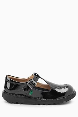 Kickers® Black Patent Kick T-Bar Shoe
