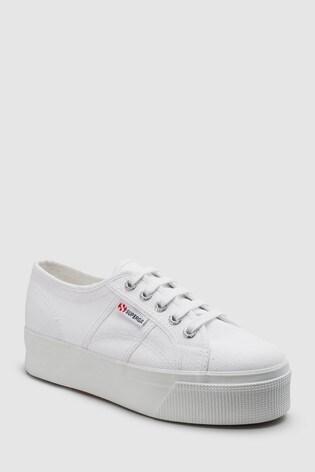 white superga 2790 flatform trainers