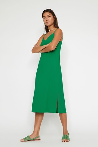 save off arriving new high Warehouse Green Cross Back Midi Cami Dress