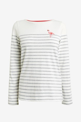 more photos 3465c d0361 Joules White Harbour Embroidered Long Sleeve Jersey Top