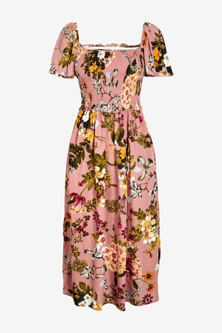 Floreale rosa blush Abito con spalle scoperte