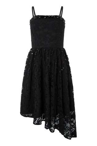 premium selection hot product nice shoes Monsoon Children Black Roma Lace Asymetric Prom Dress
