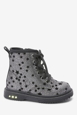 Glitter Light-Up Lace-Up Boots (Younger