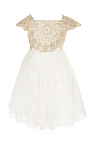 c80f5543 Buy Monsoon Gold Baby Estella Sparkle Dress from the Next UK online shop