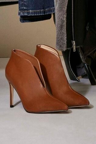100% authentic new high new style Wallis Tan Pumpkin Tan V Throat Stiletto Shoe Boots