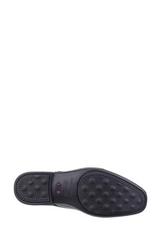 Hush Puppies Cale Oxford black leather plain toe wide fit shoe