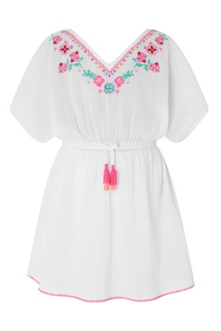 Angels by Accessorize White Mexican Embroidered Kaftan