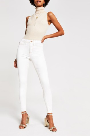 Official Website search for genuine top-rated authentic River Island White Coated Champagne Jeans