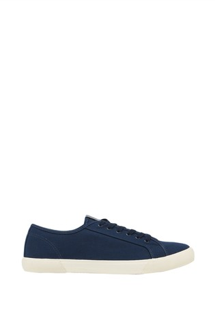 Joules Girls Coast Pump Canvas Lace Up Trainers BLUE BRAND NEW