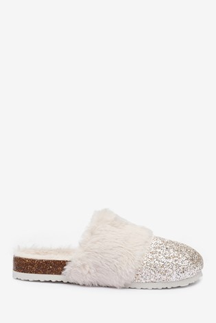 Buy Gold Glitter Mule Slippers from the