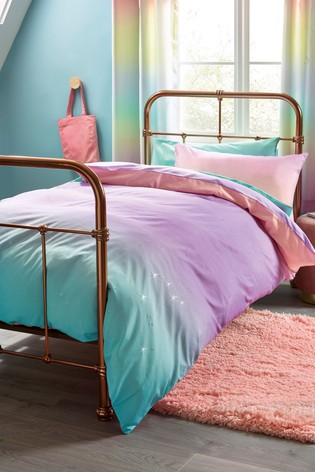 Magical Ombre Glitter Duvet Cover, Teal And Purple Ombre Bedding