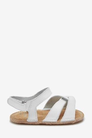 Buy White Leather Baby Pram Sandals (0