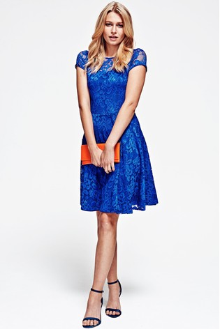 Hotsquash Royal Blue Lace Fit And Flare Dress