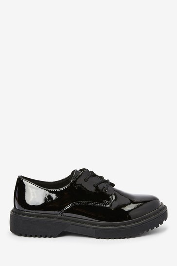 Buy Black Patent Chunky Lace-Up Shoes