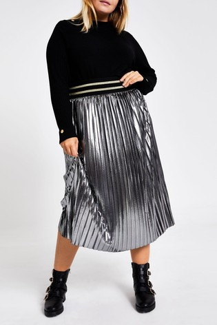 shopping factory authentic low priced River Island Silver Plus Size Metallic Pleated Midi Skirt