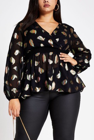 usa cheap sale 100% authentic premium selection River Island Black Plus Size Wiley Waisted Printed Blouse