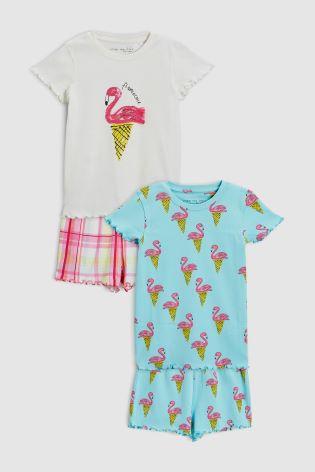 Сине-зеленый розовый - Набор из двух пижам с шортами и рисунком фламинго ... 30a1d7566441e