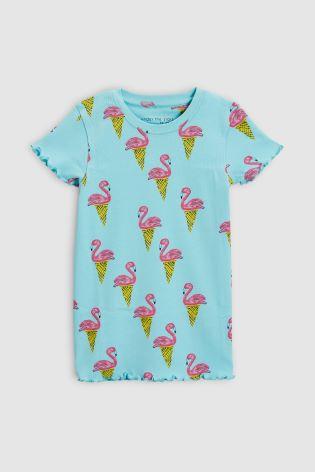 ... Сине-зеленый розовый - Набор из двух пижам с шортами и рисунком фламинго  ... 84878fdb97796