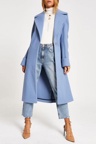 entire collection buy popular high quality guarantee River Island L Blue Adriana Wool Coat