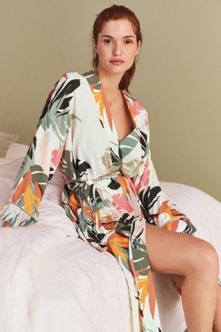 Buy Ecru Palm Print Crinkle Robe From Next Singapore