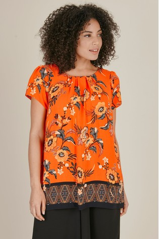 e41f275083 Buy Evans Curve Orange Floral Print Shell Top from the Next UK ...