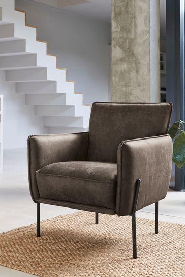 Easton Accent Chair With Black Legs, Leather Living Room Chair