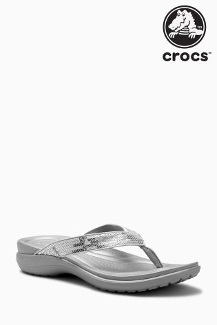 220b5941af8558 Buy Crocs™ Silver Capri V Sequin Flip Flop from Next Netherlands